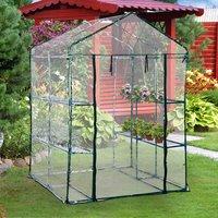 4 Tiers 8 Shelves Metal Frame Walk in Portable Greenhouse  - Transparent / 143cm