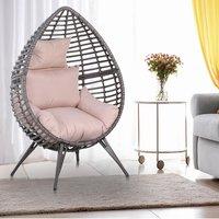 Rattan Wicker Teardrop Chair - Pink