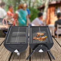 Portable Charcoal Trolley Barbecue Grill BBQ - Black
