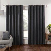 Hoxton Blackout Eyelet Curtains - Charcoal / 168cm / 183cm