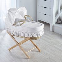 Broderie Anglaise White Moses Basket with Natural Opal Folding Stand