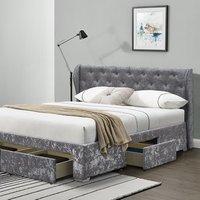 Silver Crushed Velvet Upholstered 4 Drawer Bed Frame - Double