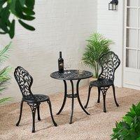 3 Piece Garden Bistro Set Cast Aluminum Dinning Chair Table Outdoor - Black