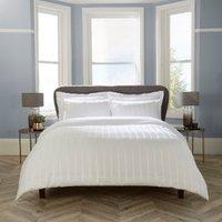 Islington Herringbone Duvet Cover and Pillowcase Set - White / Super King
