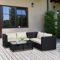 Rattan Wicker Garden Furniture Patio Sofa - Black
