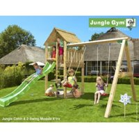 Jungle Gym Cabin and Swing With Installation - Brown
