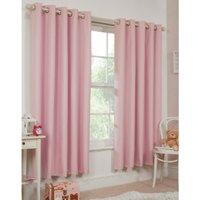 Kids Blockout Eyelet Curtains - Baby Pink / 117cm