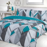 Brodie Geo Printed Duvet Cover and Pillowcase Set - Teal / Double
