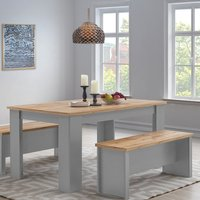 Lisbon Grey 150cm Dining Table and Bench Set Seat Kitchen  - Grey