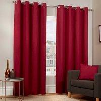 Pure Cotton Eyelet Curtains - Dark Red / 168cm / 137cm