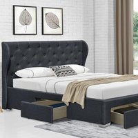 Grey Linen Fabric Upholstered 4 Drawer Bed Frame - Double