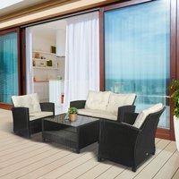 4 Piece Outdoor Furniture Wicker Chair Set - Cream White