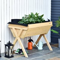 Wooden Planter Raised Bed Container  - Natural Wood