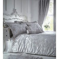 Sandringham Silver Duvet Cover and Pillowcase Set - Silver / Super King
