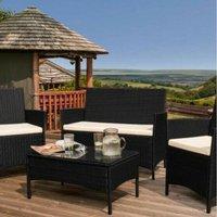 4 Piece Rattan Garden Furniture Set - Black