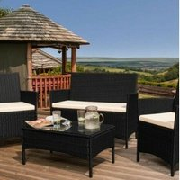 4 Piece Rattan Garden Furniture Set with Cover - Black