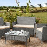 4 Piece Rattan Garden Furniture Set - Grey