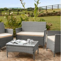 4 Piece Rattan Garden Furniture Set with Cover - Grey