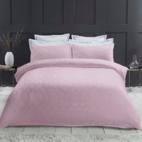 Imani Geometric 290 Thread Count Duvet Cover and Pillowcase Set - Mauve / Double