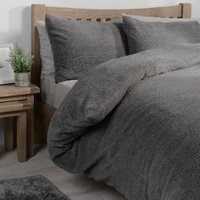 Teddy Fleece Duvet Cover and Pillowcase Set - Charcoal / King