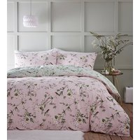Hummingbird Duvet Cover and Pillowcase Set - Pink/Green / Single