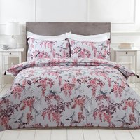 Oriental Floral Cranes Duvet Cover and Pillowcase Set - Pink / Super King
