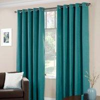 Basketweave Eyelet Curtains - Teal / 137cm / 117cm