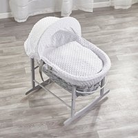 White Dimple Grey Wicker Moses Basket with Grey Rocking Stand