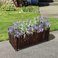 Raised Flower Bed Pot Container - Natural Wood Colour / 120cm / 50cm