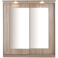 Riviera Large Mirror Wardrobe with Lights - Light Oak