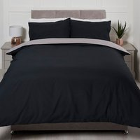 Riley Reversible Duvet Cover and Pillowcase Set - Black/Grey / Single