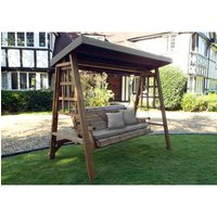 Charles Taylor Dorset Three Seater Swing with Seat Cushion and Roof Cover - Redwood/Grey