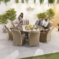 Nova Thalia Eight Seater Round Dining Set - Willow
