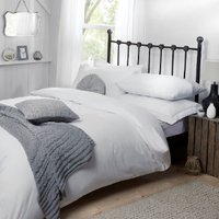 Flannelette Duvet Cover and Pillowcase Set - White / King