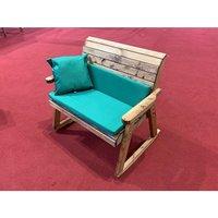 Charles Taylor Bench Rocker with Cushions (no Back Cushions) - Redwood/Green