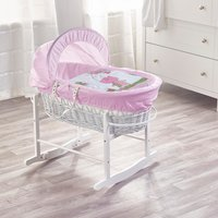 Tiny Ted Pink White Wicker Moses Basket with White Rocking Stand