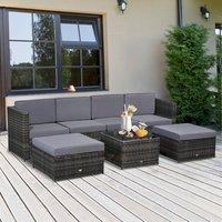 7 Piece Outdoor Rattan Wicker Sofa Set - Dark Grey