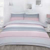 Richmond Stripe Duvet Cover and Pillowcase Set - Pink / Single