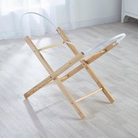 Blue Spots and Stripes Moses Basket with Natural Opal Folding Stand