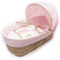 Tiny Ted Pink Moses Basket with Natural Deluxe Rocking Stand