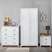 Bedroom Furniture Set 2 Door Wardrobe Bedside Table Chest Drawers - White