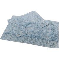 San Marino 2 Piece Cotton Bath and Pedestal Mat Set - Blue