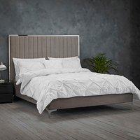 Berkeley Velvet Upholstered Fabric Bed Frame - Mink Grey -  / Double