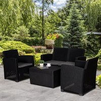 Garden PP Rattan Style Sofa Table Set  - Black