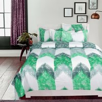 Duvet Cover Set 100 Percent Cotton - Green and White / Single