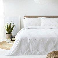 Washed Cotton Polka Dot Duvet Cover Set - White/Grey / King
