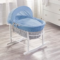 Blue Dimple Grey Wicker Moses Basket with Grey Rocking Stand
