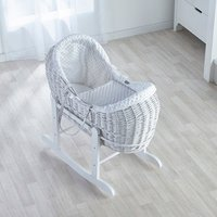 Dimple White Pod Moses Basket with Little Gem Rocking Stand - White