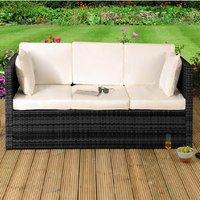 Rattan Sun Lounger Storage Sofa  - Black
