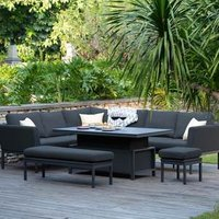 Maze Rattan Pulse Corner Dining Set  - Charcoal